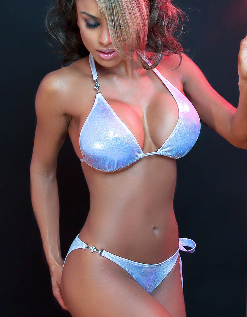 Just to Flirt 2pc Bikini Set with Jewel Detail and Side Tie - Assorted Colors - OS