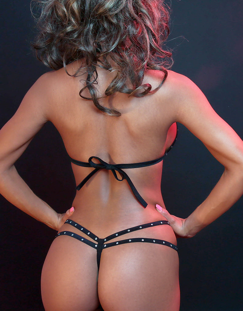 Just to Flirt 2pc Bikini with Rhinestones and Strappy Detail - Assorted Colors - OS
