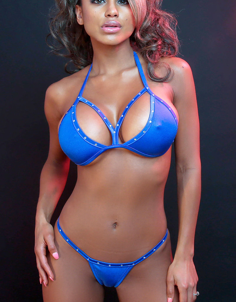Just to Flirt 2pc Strappy Bikini with Rhinestone Detail - Assorted Colors - OS
