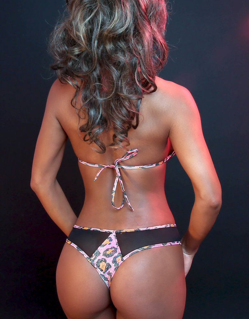 Just to Flirt 2pc Bikini with Mesh Panels and Thong - Assorted Colors - OS