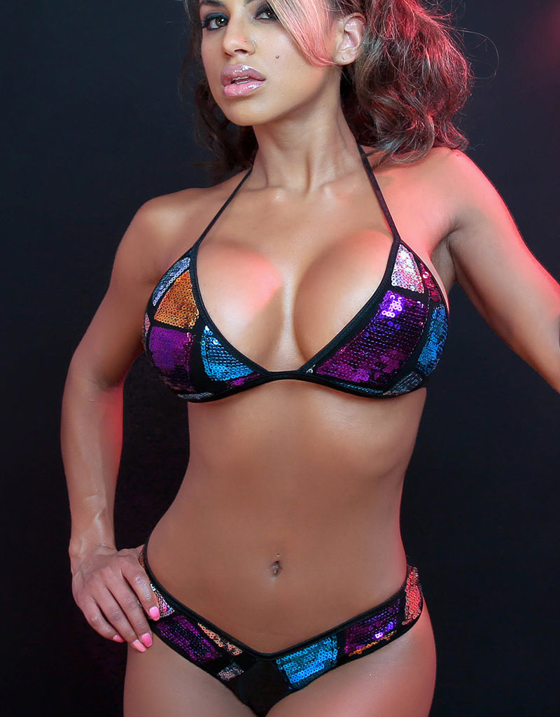 Just to Flirt 2pc Bikini with Solid and Sequin Panels - Assorted Colors - OS