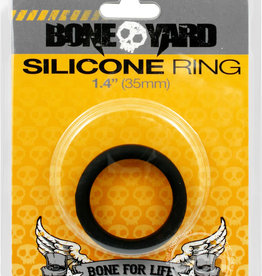 Rascal - Boneyard Bone Yard Silicone Ring Cockring Black 1.4 Inch Diameter