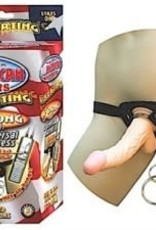 "NassToys All American Whoppers Vibrating 8"" Dong With Unversal Harness - Light"