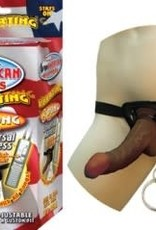 NassToys Afro American Whoppers Vibrating 8-Inch Dong With Universal Harness - Brown