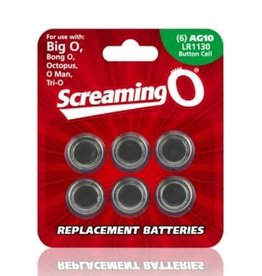 Screaming O Replacement Batteries - 6 Pack - Each - AG10 - LR1130 - Button Cell