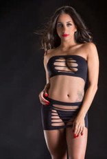 Beverly Hills Naughty Girl 2 Piece Set Top and Skirt - One Size - Black