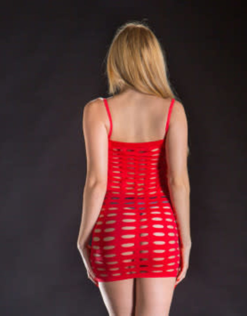 Beverly Hills Naughty Girl Spaghetti String Dress Exotic Mesh - One Size - Red
