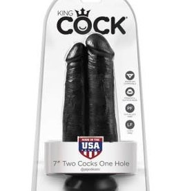 "Pipedream King Cock 7"" Two Cocks One Hole - Black"