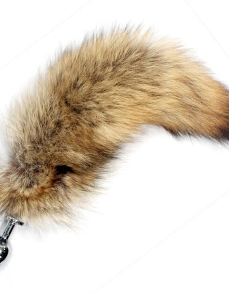 "Touch of Fur 12""-14"" Coyote Tail Detachable w/ Medium Sized Jewel Plug"