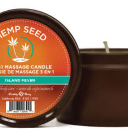 Earthly Body 3 in 1 Massage Candle - Island Fever 6 Oz - Hemp Seed
