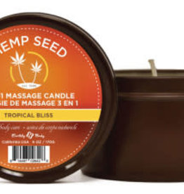 Earthly Body 3 in 1 Massage Candle - Tropical Bliss 6 Oz - Hemp Seed