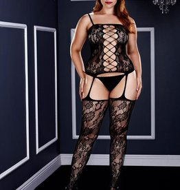 Baci CORSET FRONT SUSPENDER BODYSTOCKNG-QUEEN SIZE