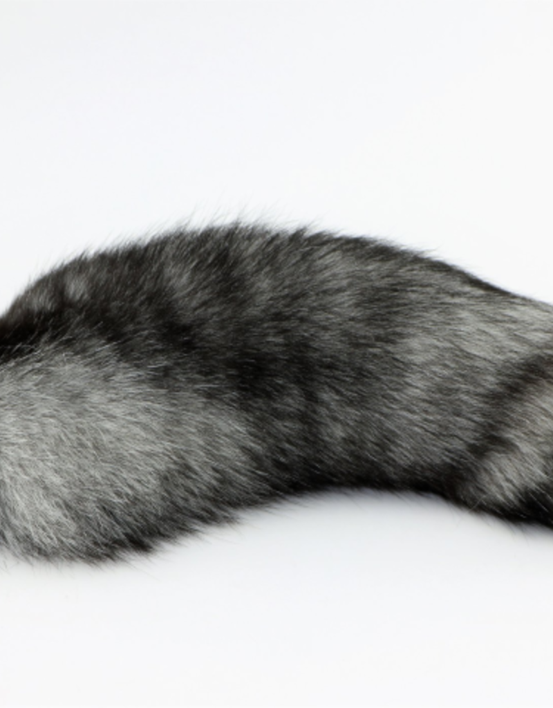"""Touch of Fur 14""""-17"""" Indigo Fox Tail on Stainless Steel Plug-Small"""