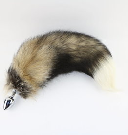 """Touch of Fur 14""""-17"""" Cross Fox Tail on Stainless Steel Plug-Small"""