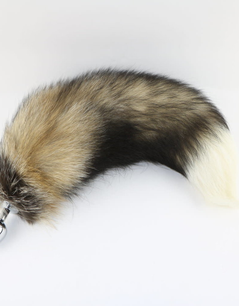 "Touch of Fur 14""-17"" Cross Fox Tail on Stainless Steel Plug-Small"