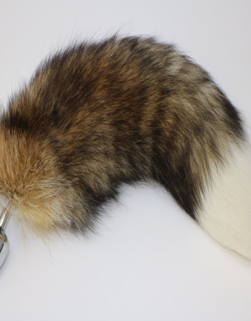 "Touch of Fur 14""-17"" Farm Raised Fox Tail on Stainless Steel Plug-Small"