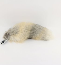 """Touch of Fur 14""""-17"""" Golden Island Fox Tail on Stainless Steel Plug-Medium"""