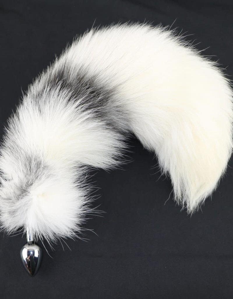 "Touch of Fur 14""-17"" Platinum Fox Tail on Stainless Steel Plug-Medium"