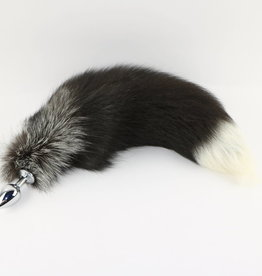 """Touch of Fur 14""""-17"""" Silver Fox Tail Plug on Stainless Steel Plug-Medium"""