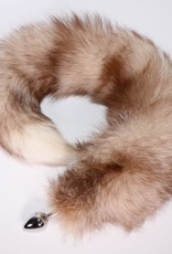 "Touch of Fur 14""-17"" Bleached Indigo Fox Tail on Stainless Steel Plug-Medium"