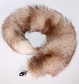 """Touch of Fur 14""""-17"""" Bleached Indigo Fox Tail on Stainless Steel Plug-Medium"""
