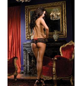 Dreamgirl Stretch Lace Open Crotch Short Black