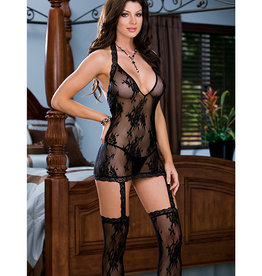 Black Diamond Floral Stretch Lace Halter Dress w/Attached Garters & Thigh High Stockings Black O/S