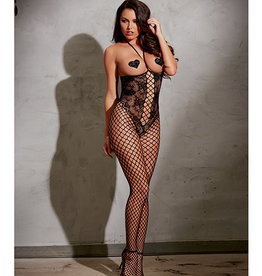 Dreamgirl Open Cup Bodystocking w/Knitted Lace, Fishnet Legs, Open Crotch & Adjustable Halter Ties Black O/S