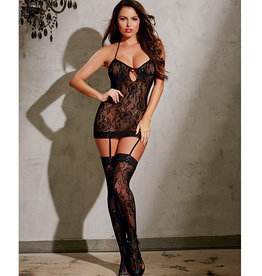 Dreamgirl Stretch Lace Garter Dress w/Adjustable Halter Ties, Attached Garters & Thigh Highs Black O/S