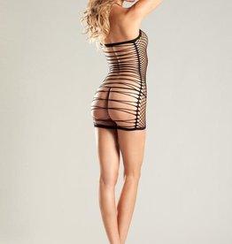 Be Wicked Oval Net Halter Dress - Black - One Size