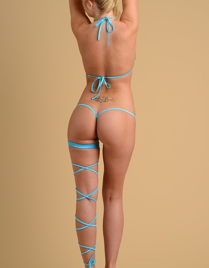 Just to Flirt 2 pc Bikini with Gold Detail and Y-Back Thong - Assorted Colors - OS