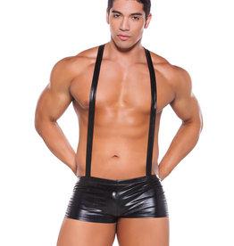 Allure Lingerie Zeus Wet Look Suspender Shorts Black O/S