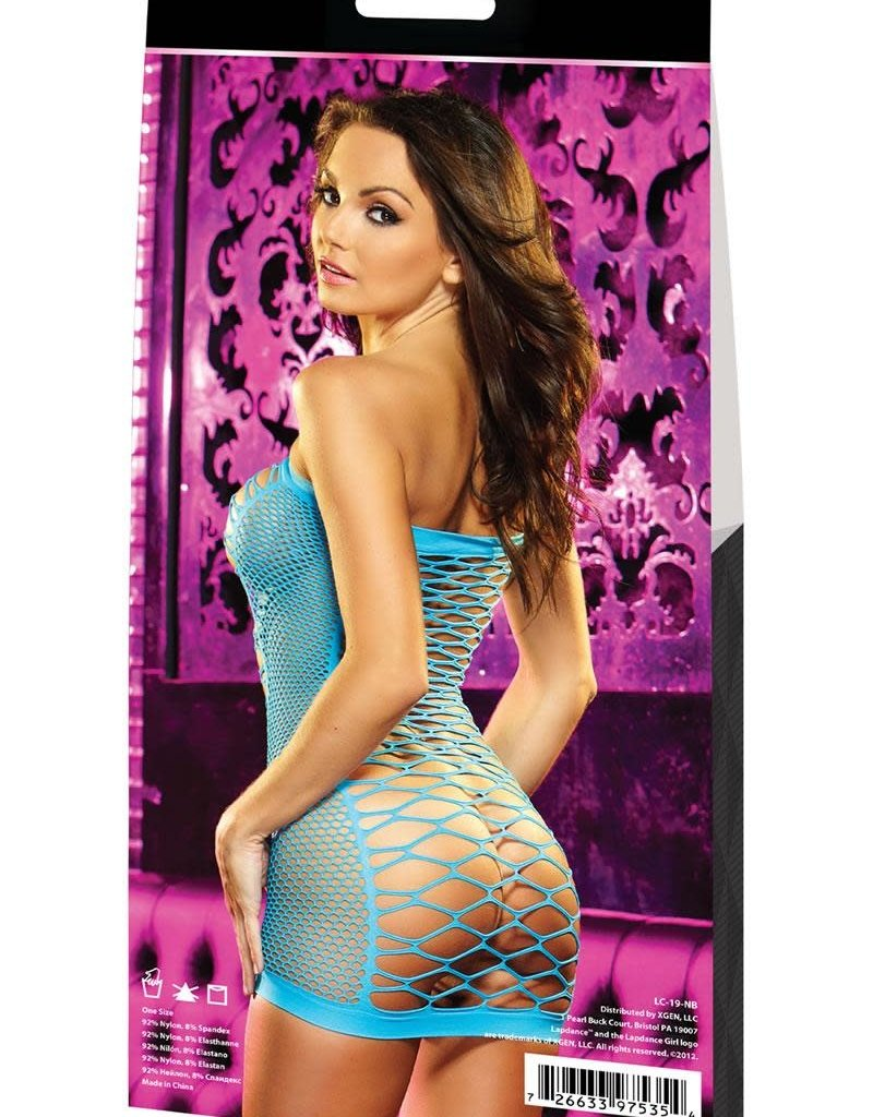 LapDance XTC DIAMOND NET MINI DRESS-BLUE
