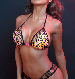 Just to Flirt 2pc Bikini with Fishnet Paneling and Bow Detail - Assorted Colors - OS