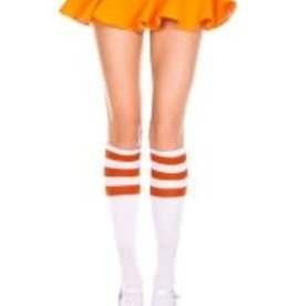 Music Legs Knee Highs with Striped Top - White/Orange - OS