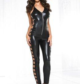 Music Legs Wet look side cut out bodysuit - Black