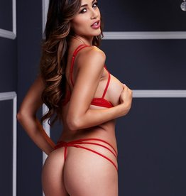 Baci Red Strap-Tied Two Piece - OS