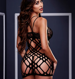 Baci Fishnet and Floral Mini Dress - OS
