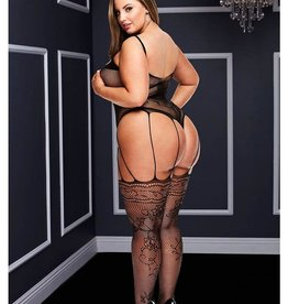 Baci STRAPPY BODYSTOCKING WITH GARTERS-BLK-Q