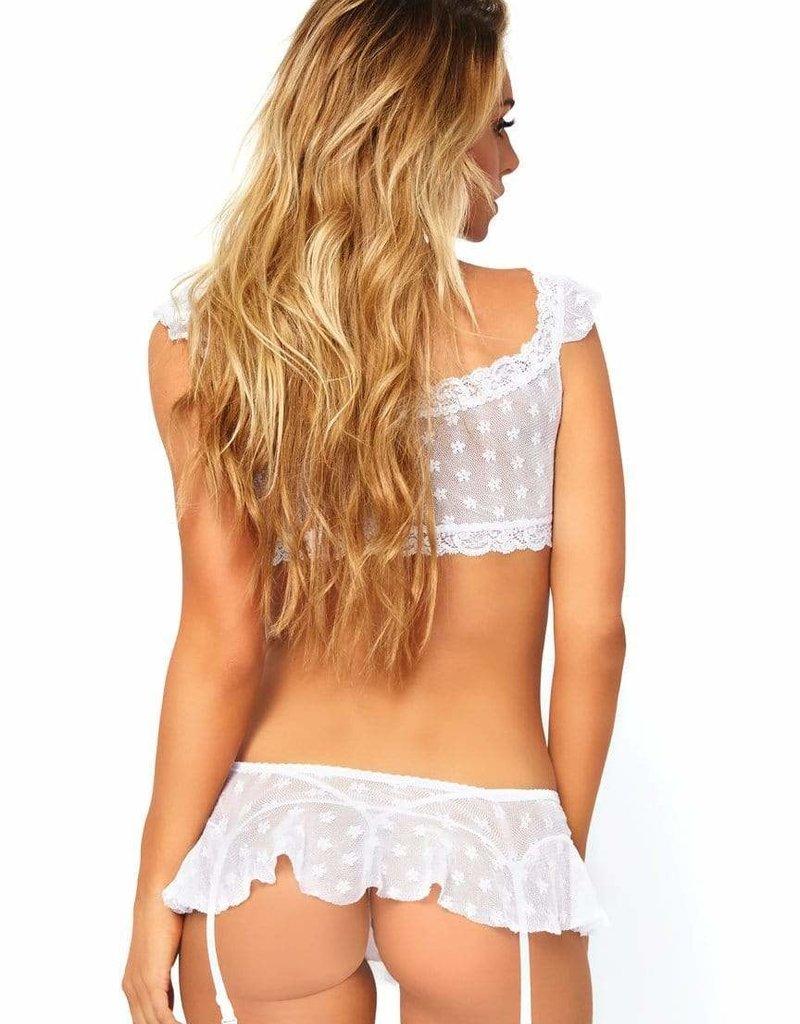 Leg Avenue 2 PC Bralette & Skirt - White