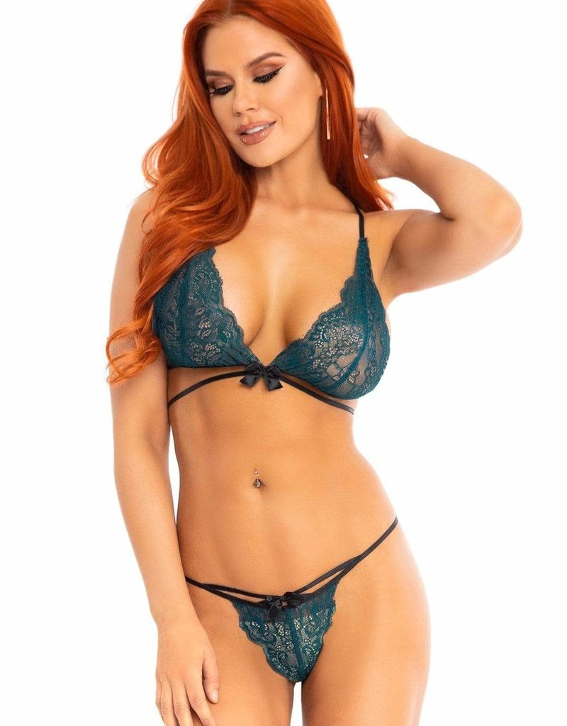 Leg Avenue 2 PC Lace Bralette and Panty Set - Teal