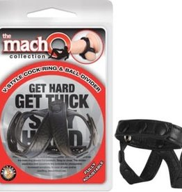 NassToys The Macho Collection v-Style Cock Ring and Ball Divider - Black