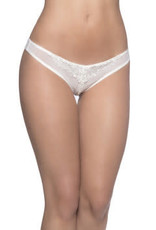 Oh La La Cheri Crotchless Thong With Pearls - One Size