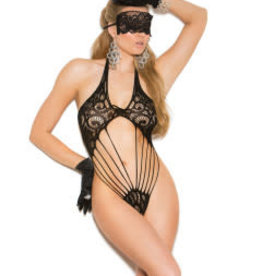 Elegant Moments Lace Teddy and Matching Eye Mask - One Size - Black