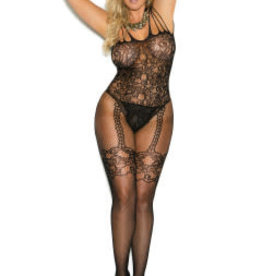 Elegant Moments Fishnet and Lace Bodystocking With Open Crotch - Queen Size - RED