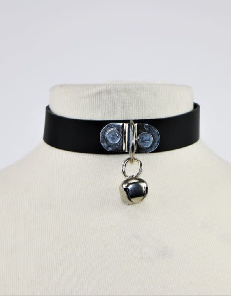 Touch of Fur Adjustable Black Leather Kitten Collar w/ D-Ring and Bell!