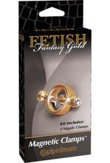 Pipedream Fetish Fantasy Gold Magnetic Clamps - Gold