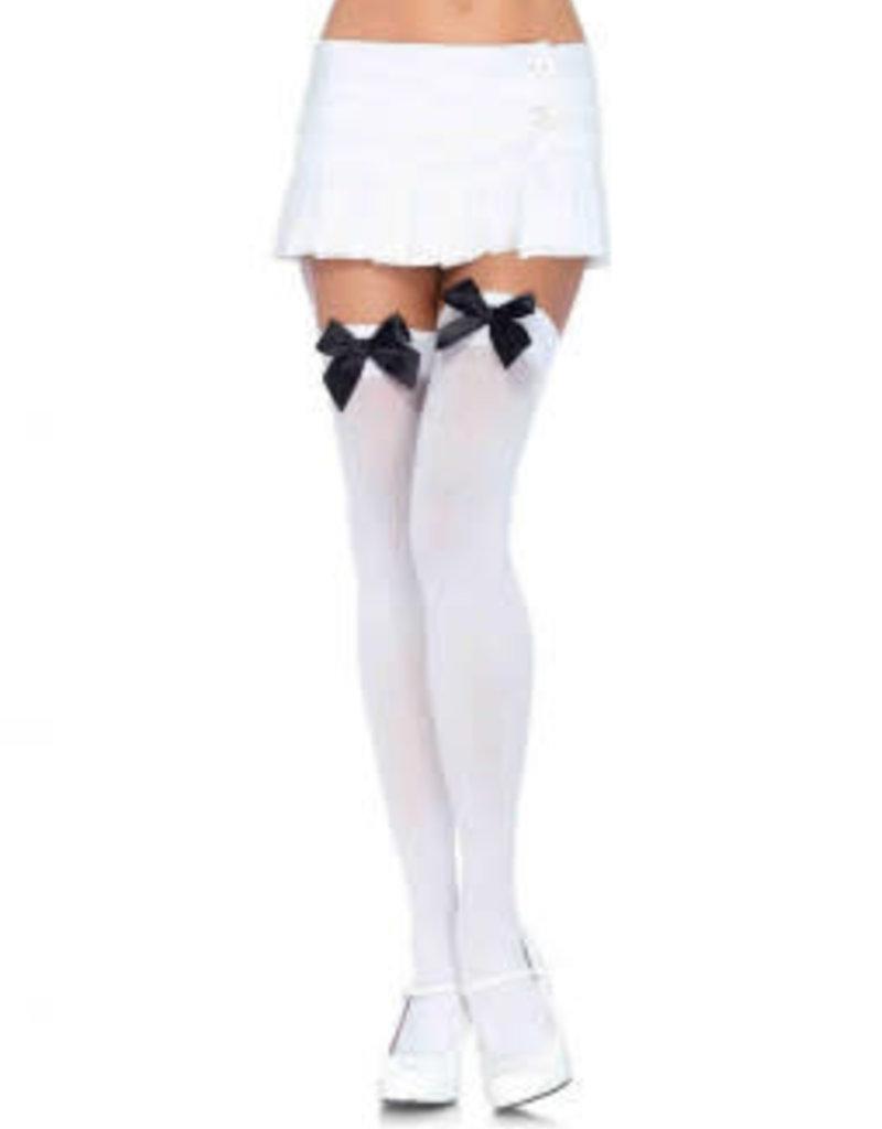Leg Avenue Nylon Over The Knee W/Bow O/S WHITE/BLACK