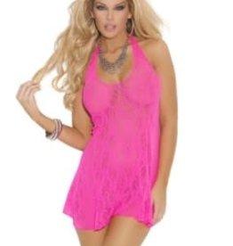 Elegant Moments Lace Halter Mini Dress - One Size - Neon Pink