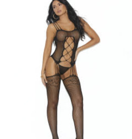 Elegant Moments Fishnet Suspender Bodystocking With Criss Cross Detail - One Size - Black